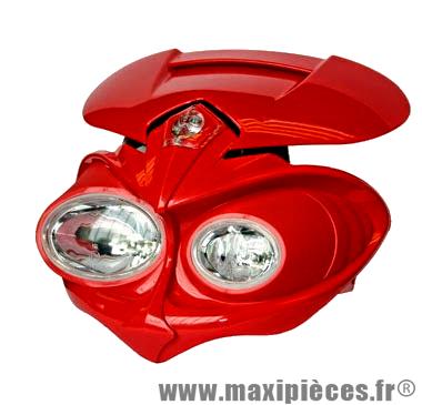 Déstockage ! Tête de fourche 50 à boite, moto universel Manga Rouge, 2x20watts + veilleuse