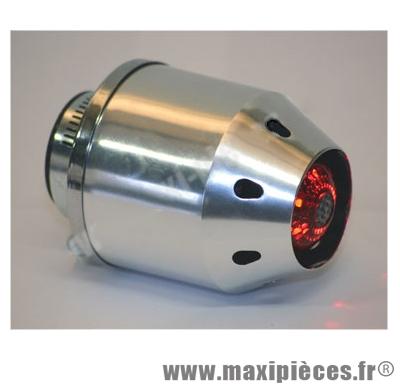 prix discount ! filtre à air alu chrome rocket Ø35/28mm avec lumière a led intégrée (livré sans piles)
