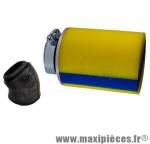 Déstockage ! filtre à air mousse cylindrique jaune bande bleu ø70mm hauteur 9cm