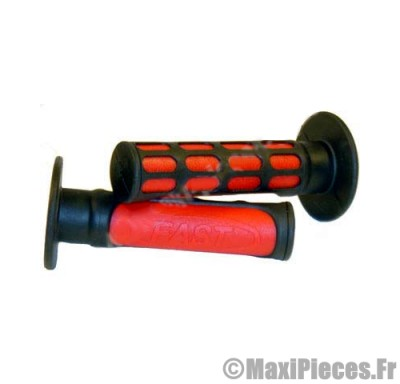 Prix discount ! paire de poignées fast rouge/noir pour 50 à boite/scooter/maxi scooter/mobylette ...
