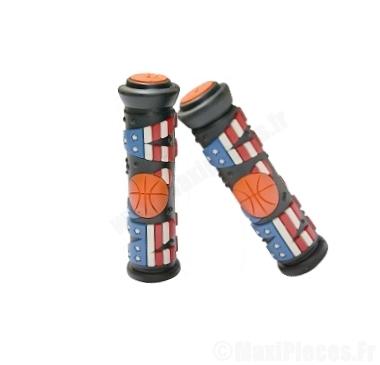 Destockage ! Paire de poignées grip «NBA» noir et orange