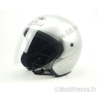 Destockage casque bol jet de marque «Aris» gris argent brillant (Homologué) Taille L (59-60 cm)