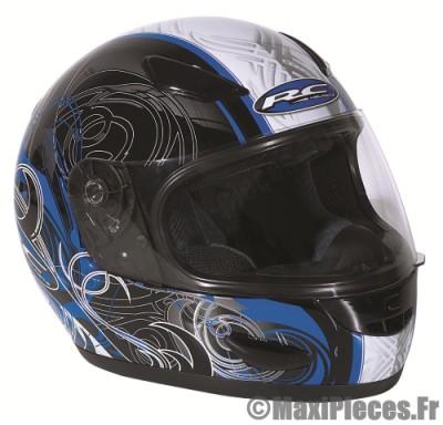Destockage casque intégral de marque «RC Osslo» noir déco bleu (Homologué) Taille L (59-60 cm)
