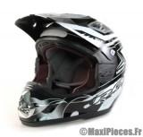 Destockage casque cross de marque «RC fullpower» noir, gris et blanc (Homologué) Taille XL (61-62 cm)