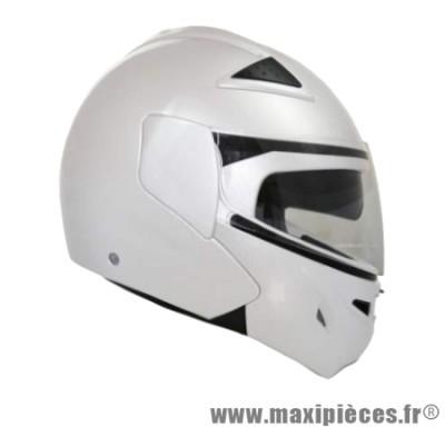 Destockage casque modulable de marque «Gpax A-400 DS» blanc nacré double écran (Homologué) Taille S (55-56 cm)