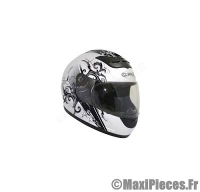 Destockage casque intégral de marque «Gpax Haka» blanc métal et noir (Homologué) Taille XS (53-54 cm)