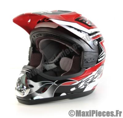 Destockage casque cross de marque «RC fullpower» rouge, noir et blanc (Homologué) Taille XL (61-62 cm)