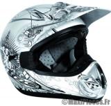 Destockage casque cross de marque «RC Assault Helmets» blason blanc et noir (Homologué) Taille XL (61-62 cm)