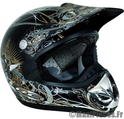 Destockage casque cross de marque «RC Assault Helmets» blason noir et or (Homologué) Taille XL (61-62 cm)
