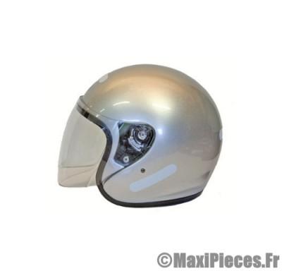 Destockage casque bol jet de marque «Rook» gris argent brillant (Homologué) Taille M (57-58 cm)