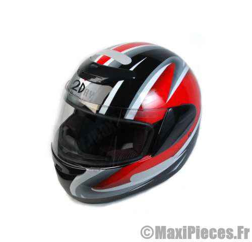 Casque scooter cyclo integral rouge.