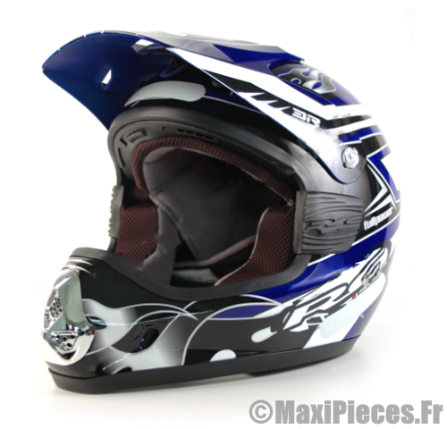 casque pas cher moto cross bleu maxi pi ces 50. Black Bedroom Furniture Sets. Home Design Ideas