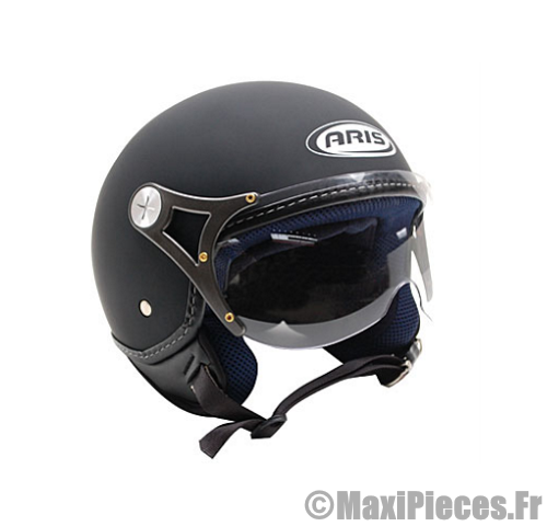 casque moto jet aviateur aris slot noir gomm taille l 59 60 achat vente casque moto scooter. Black Bedroom Furniture Sets. Home Design Ideas