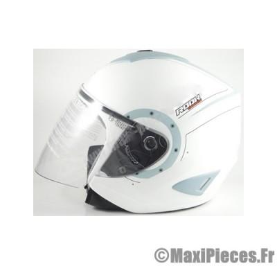 Destockage casque bol jet de marque «Rook» blanc/bleu mat (Homologué) Taille L (59-60 cm)