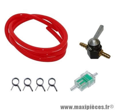 Pack robinet d'essence universel rouge pour moto, scooter...