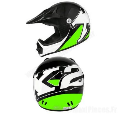 Casque cross enfant Helmet X2 noir/vert taille S(48)