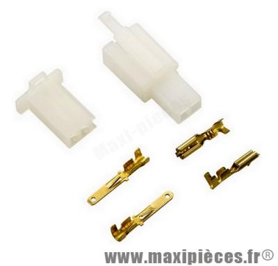 Connecteur électrique plastique 2 fiches (mâle/femelle)
