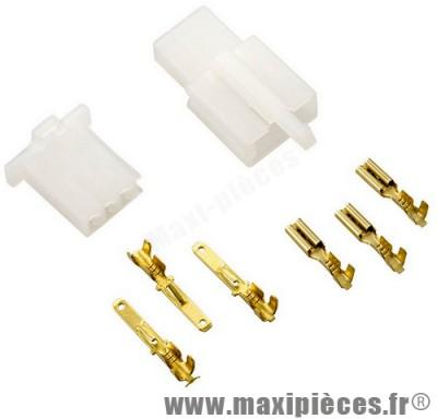 Connecteur électrique plastique 3 fiches (mâle/femelle)
