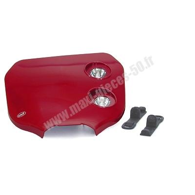 Tête de fourche plaque phare enduro bi halogène pour moto 50 à boite (rouge)