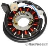 stator pour moteur minarelli am6 dt50 xlimit xpower tzr50 aprilia rx rs beta rr peugeot xp6 xr6 xr7 nk7 rieju malaguti  à partir de 2007 12 bobines (fiche 4 fils)