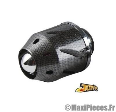 filtre a air kn adaptable diametre28/35 filter conique cyl droit carbone brillant