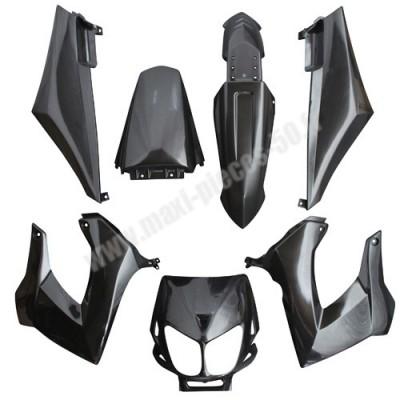 Kit carrosserie carénage noir pour 50 a boite derbi senda drd x-treme x-race 1994 à 2010 (7 pièces)