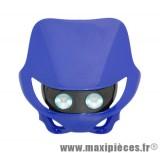 Tête de fourche plaque phare enduro halogène 2x20watts pour moto 50 à boite (bleu)