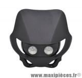 Tête de fourche plaque phare enduro halogène 2x20watts pour moto 50 à boite (noir)
