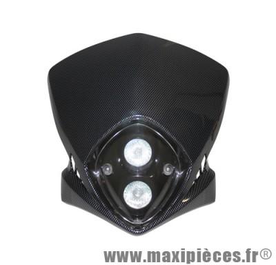 Tête de fourche plaque phare duke 2x20w halogène pour moto 50 à boite (finition carbone)