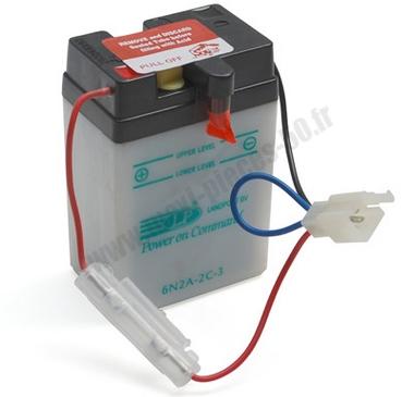 batterie 6v / 2ah (6n2a-2c)(vendu sans acide) pour dax... (dimension: lg70xl47xh106)