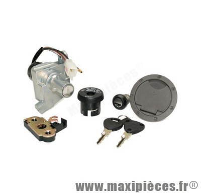 contacteur a clé neiman scooter 50cc + serrure reservoir et selle  : mbk nitro yamaha aerox…(5 fils)