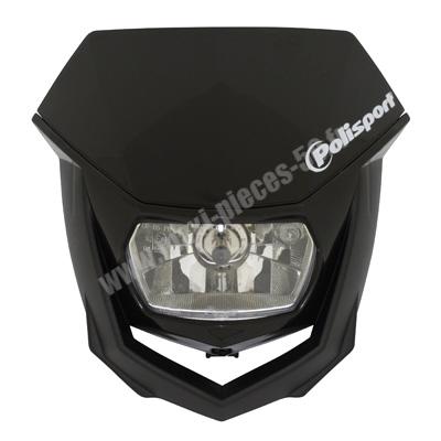 Tête de fourche plaque phare halo Polisport noir pour moto 50 à boite