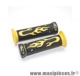 prix discount ! paire de poignées flamming jaune/noir pour 50 à boite/scooter/maxi scooter/mobylette ...