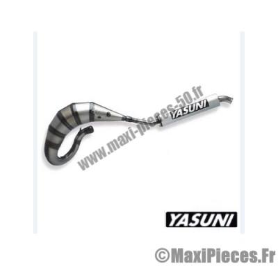 pot d'echappement yasuni cross hm (passage haut) pour derbi senda silencieux silver 2 parties.