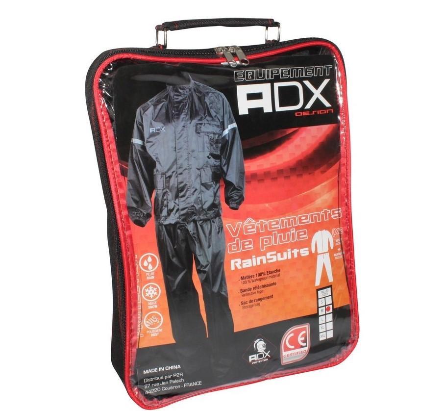 vetement de pluie adx eco noir l pack veste pantalon v tements moto neuf ebay. Black Bedroom Furniture Sets. Home Design Ideas