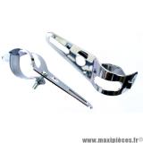 Support/fixation tête de fourche/phare chromé réglable de 35 à 50mm *Déstockage !