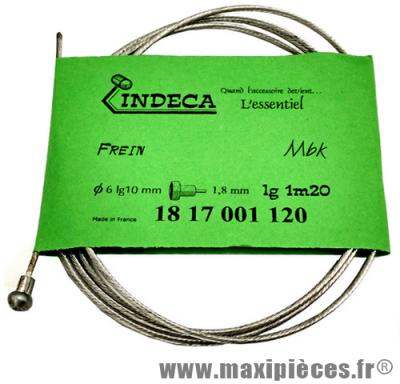 Déstockage ! Câble de frein pour cyclomoteur mbk Ø6x10mm, épaisseur 1,8mm, longueur 1,20m