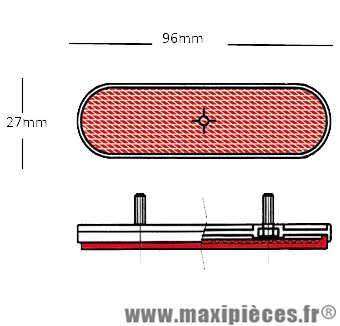 Déstockage ! Catadioptre Ovale rouge Vicma 96x27mm pour moto, scooter, 50 à boite, mob,....