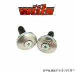 Embouts de guidon diamètre 12mm argent Wiils *Déstockage !