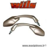 Rétroviseur gauche et droite Wiils VEGAS titane Diam.10mm vitres teintées *Destockage !