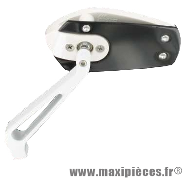 Déstockage ! Rétroviseur réversible Race diamètre 8/10mm droite ou gauche blanc