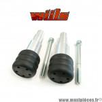 Tampons de protection noir + fixations Wiils pour Kawasaki ZRX 1100/1200 de 2004-2005 (la paire) *Déstockage !