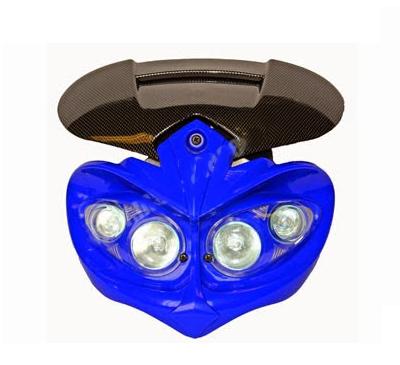 Déstockage ! Tête de fourche 50 à boite, moto universel Manga Bleu/Carbone, 4x20watts
