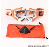 Déstockage ! Masque/Lunette cross Ariete Riding Crows Athlète Orange Fluo/Blanc