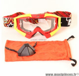 Déstockage ! Masque/Lunette cross Ariete Riding Crows Athlète rouge/jaune fluo