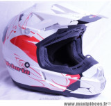 Casque Off Road/Cross Victoria Bull ATAK taille L (59-60 cm) Blanc/Rouge Brillant *Déstockage !