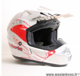 Déstockage ! Casque Off Road/Cross Victoria Bull ATAK taille M (57-58 cm) Blanc/Rouge Brillant