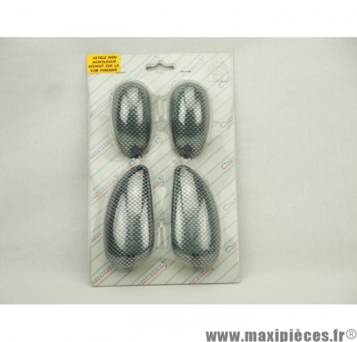Déstockage ! Kit cabochon clignotant imitation carbone piaggio typhoon 93-05, nrg 94-05, ntt
