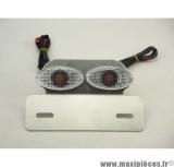 Déstockage ! Support de plaque alu avec clignotant Cat eyes intégrés