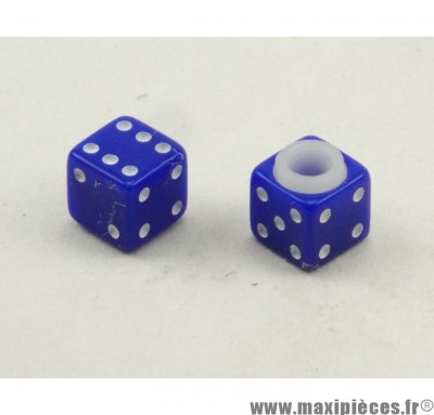 Déstockage ! Bouchon de valve en forme de Dé Bleu (paire)